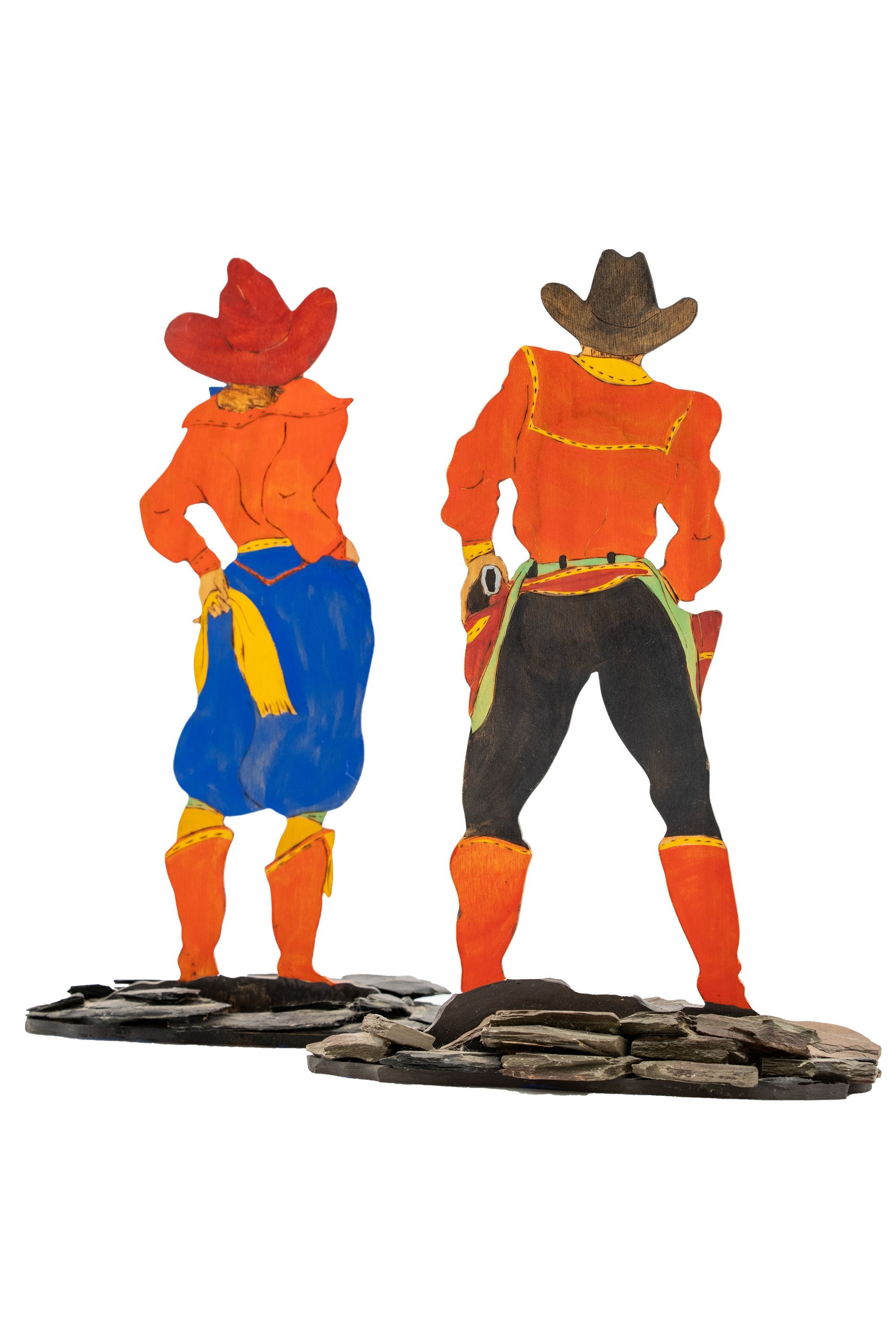 Art, Folk, Retro Cowboy & Cowgirl, Pair, Handpainted, Wood Cutouts, Artist Signed, 294