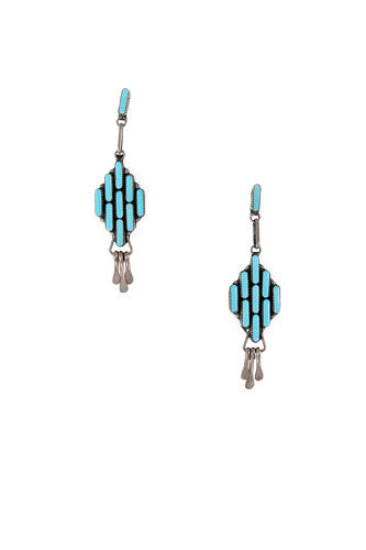 Earrings, Chandelier, Turquoise, Zuni, Hallmark, Vintage, 442