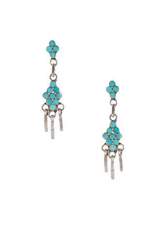 Earrings, Drop, Turquoise, Disha, Vintage, 443