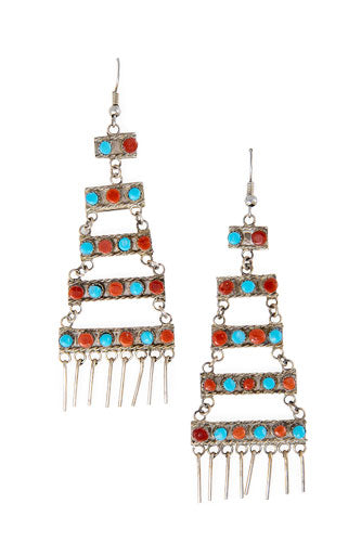 Earrings, Chandelier, Turquoise & Coral, 440