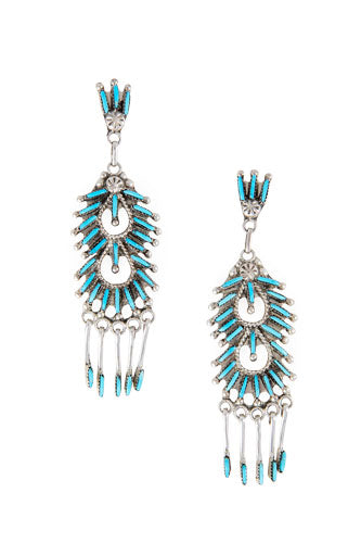Earrings, Chandelier, Turquoise, Zuni, 441
