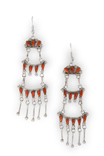 Earrings, Chandelier, Ladder,  Coral, 448