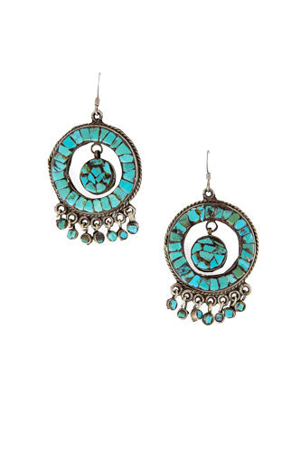 Earrings, Chandelier, Hoop, Turquoise, Vintage, 1970's