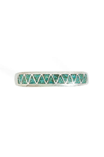 Cuff, Inlay, Chip, Turquoise, 1970's, Vintage, 2428