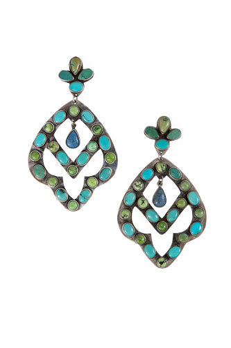 Earrings, Chandelier, Turquoise, Multi Stone, Oscar Betz, Vintage, 457