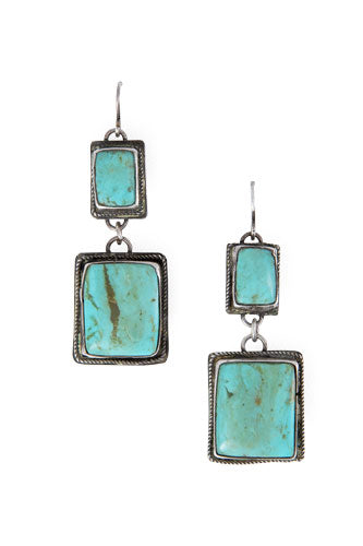 Earrings, Drop, Turquoise, Vintage, 454
