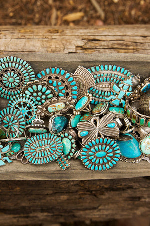 Pin, Turquoise, Cluster, Vintage, 139
