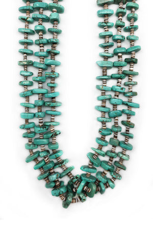 Necklace, Natural Stone, Tab & Heishi, Turquoise, 3 Strand, 555