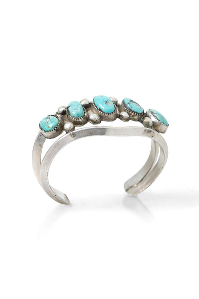 Cuff, Turquoise, 5 Stone, Sandcast, Vintage, 2441