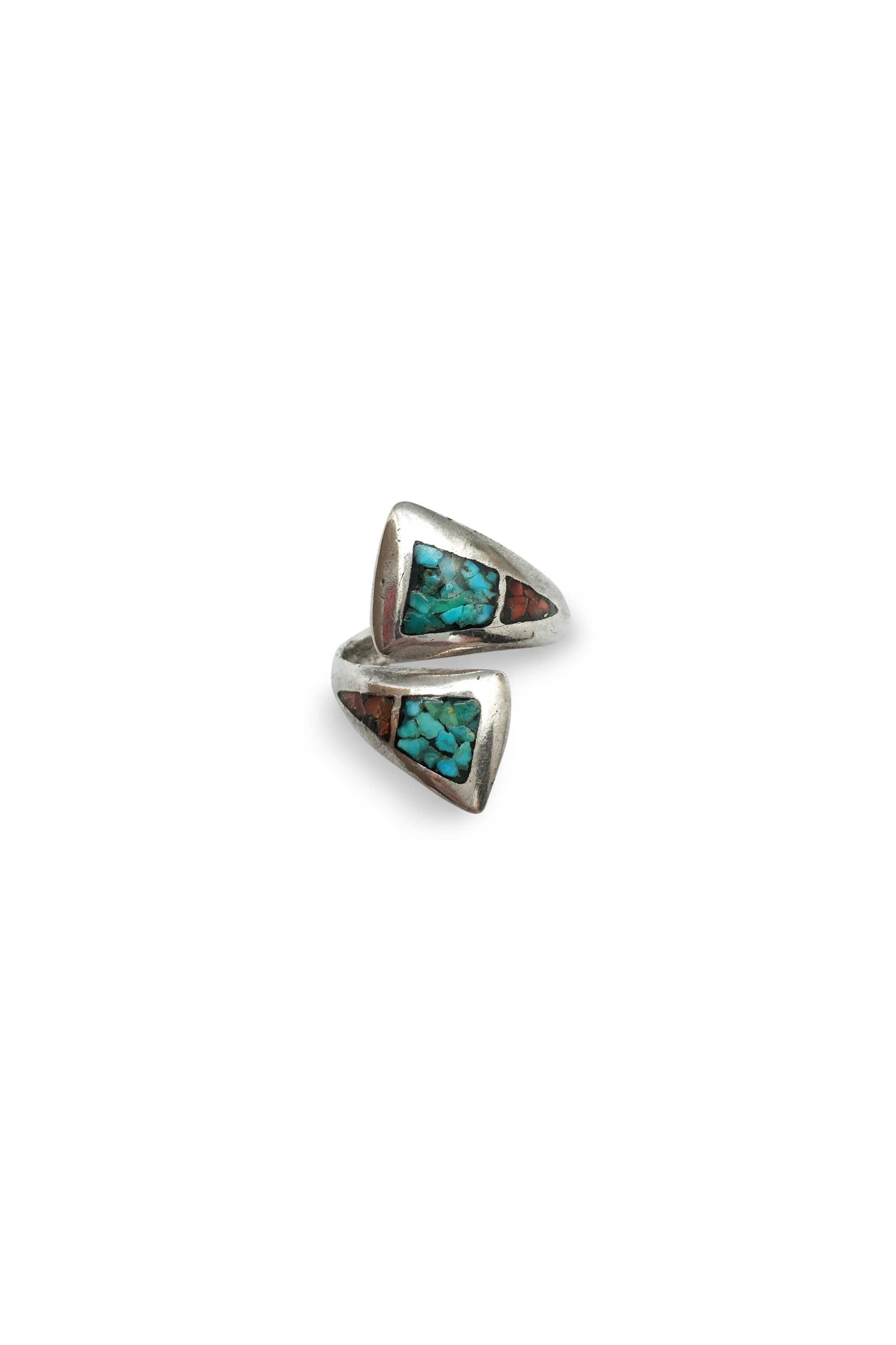 Ring, Inlay, Coral & Turquoise, Vintage, 358