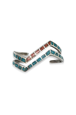 Cuff, Turquoise & Coral, Inlay, Vintage, 2272