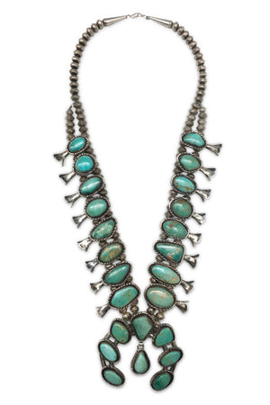 Necklace, Squash Blossom, Turquoise, Old Pawn, 652