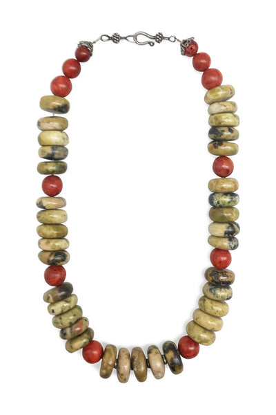 Necklace, Natural Stone, Green Agate & Coral, 659
