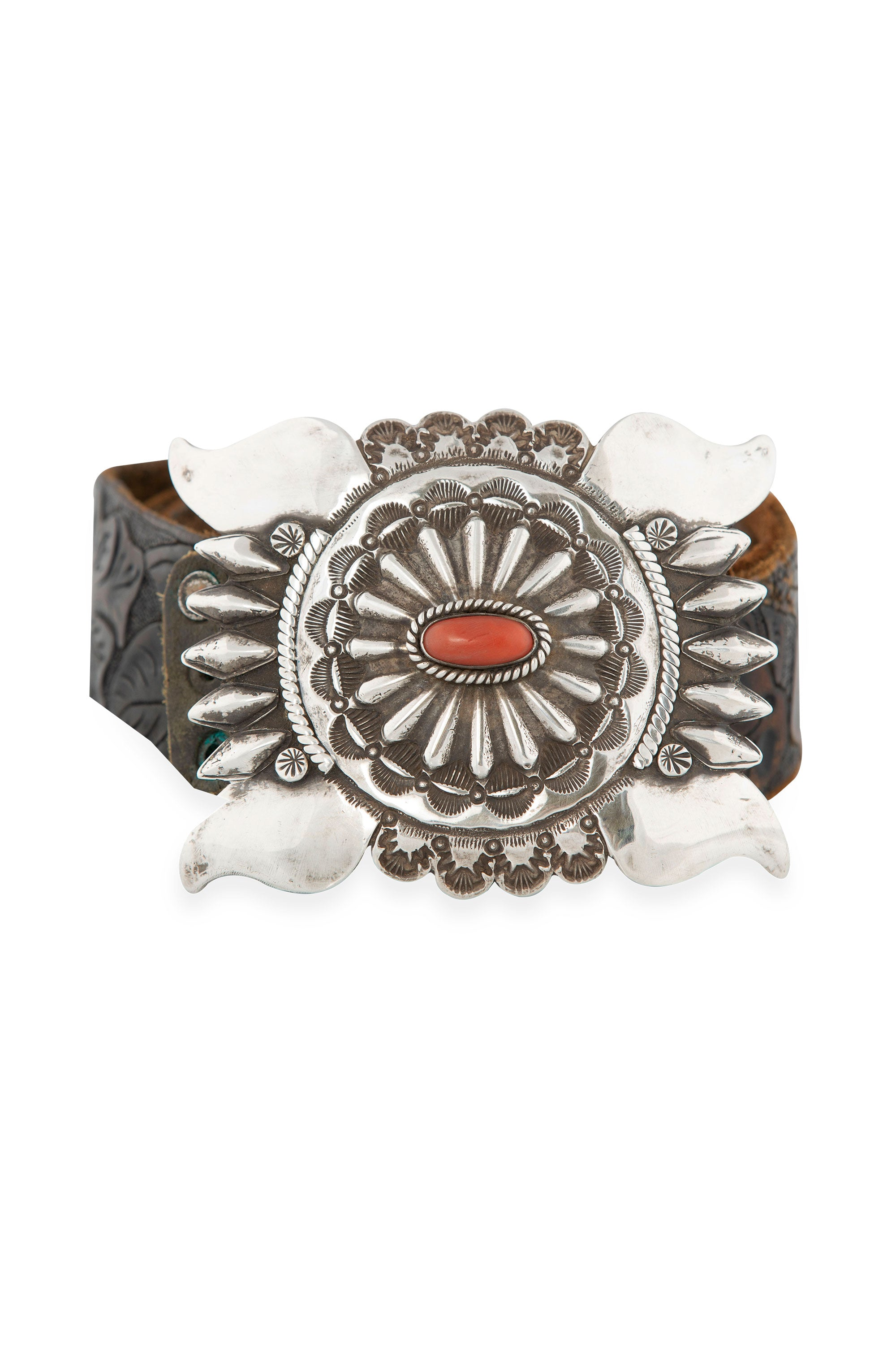 Belt, Buckle, Coral, Sterling Silver, Western Tooled Leather Strap, Vintage, 679