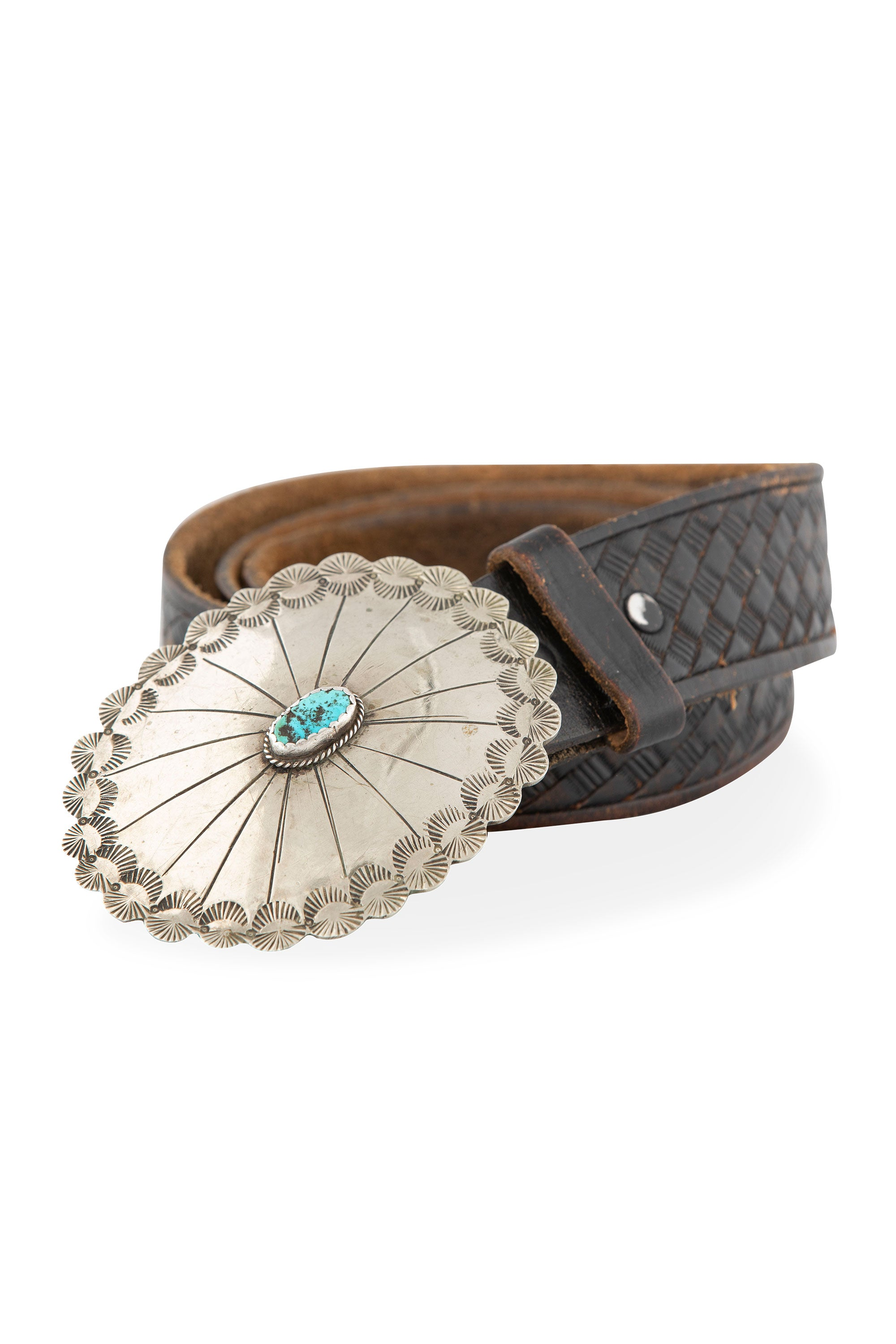 Belt Concho Buckle Turquoise Tooled Leather Strap