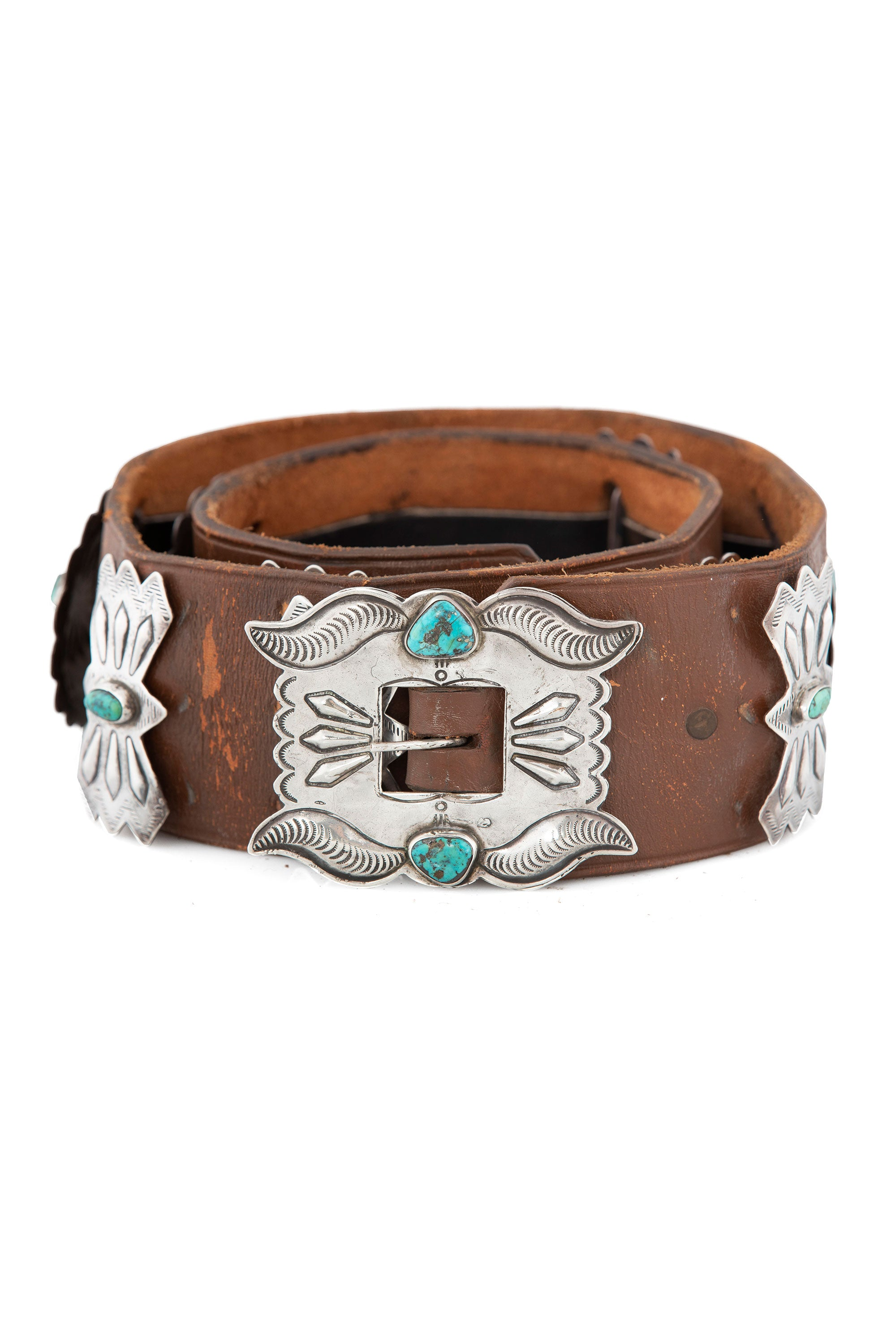 Belt, Concha, Turquoise, Sterling Silver,  Vintage, 671