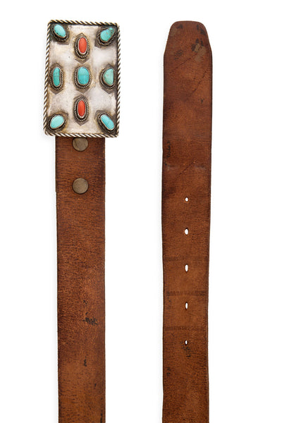 Belt, Buckle, Turquoise & Coral, Leather Strap, Vintage, 678