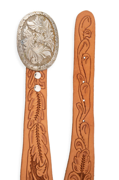 Belt, Buckle, Western Floral, Tooled Leather Strap, Vintage, 660