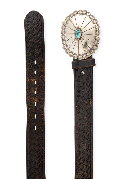 Belt, Concho Buckle, Turquoise, Tooled Leather Strap, Vintage, 666