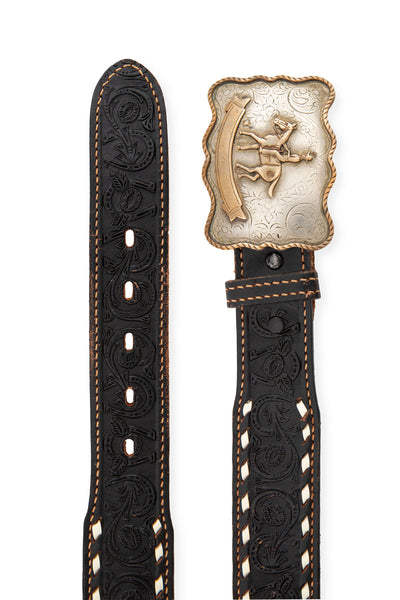 Belt, Buckle, Western Horseman, Tooled and Laced Leather Strap, Vintage, 661