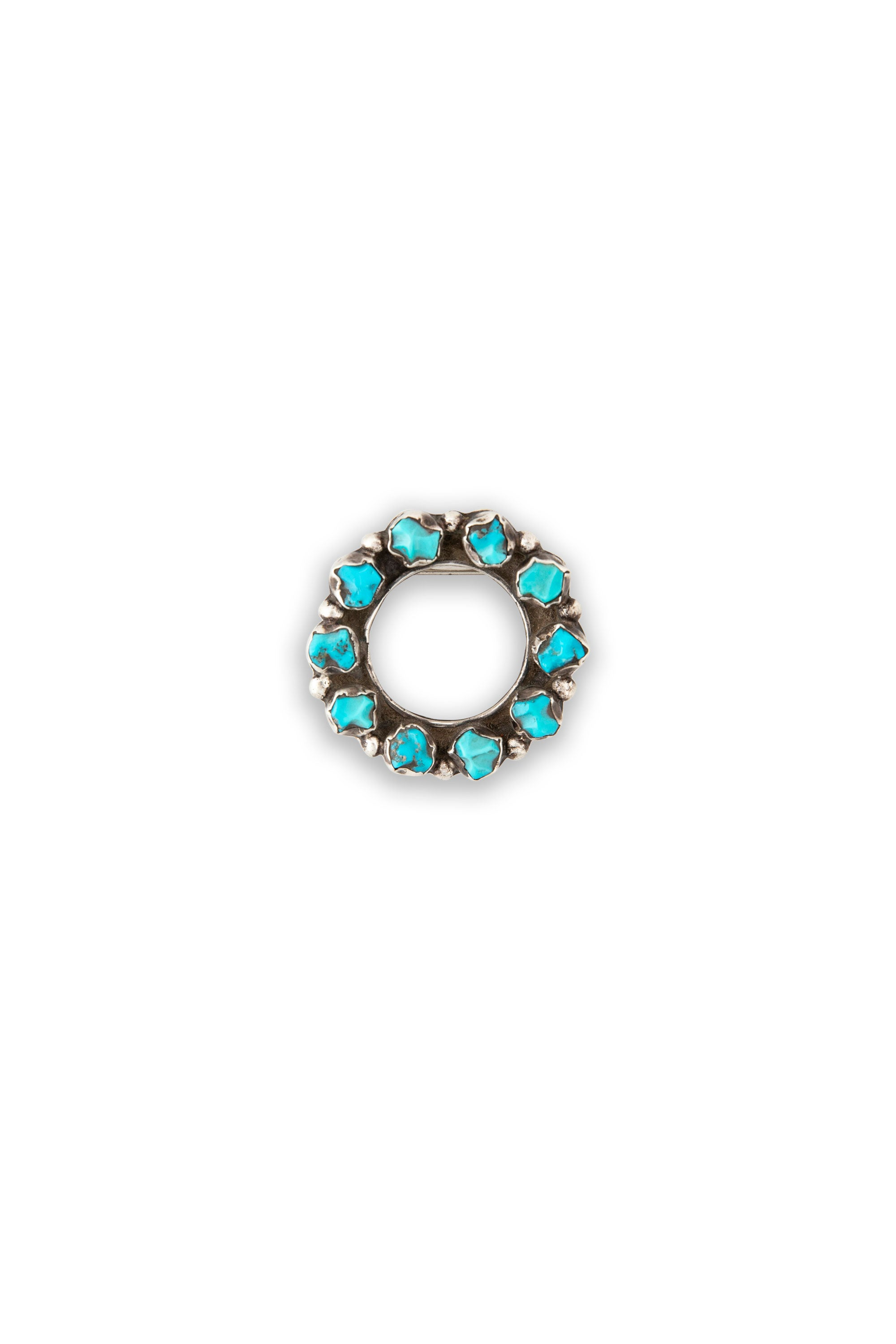 Pin, Cluster, Sterling Silver & Turquoise, Eternity, Vintage, 283