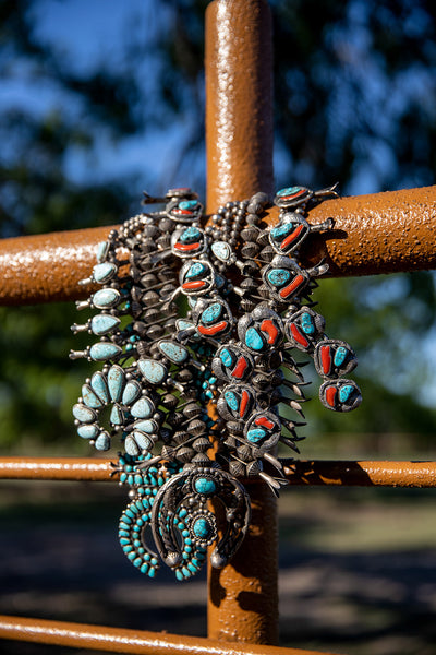 Necklace, Squash Blossom, Turquoise, Sterling, Vintage, Triple Hand Wrought Beads