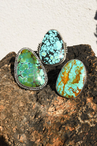Ring, Turquoise, Single Stone, Wide Mesa, 206