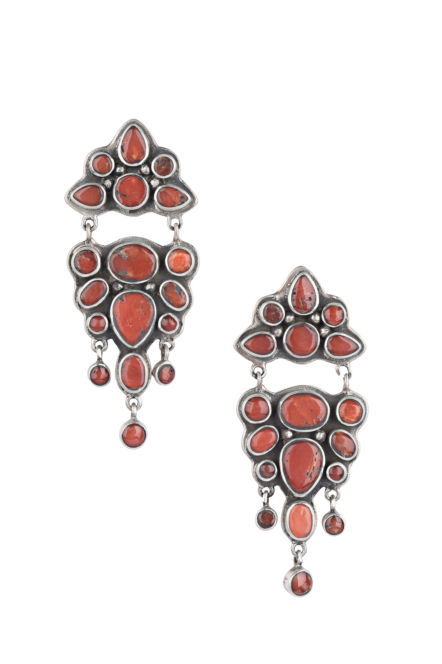 Earrings, Chandelier, Coral, Rambling Rose, 571