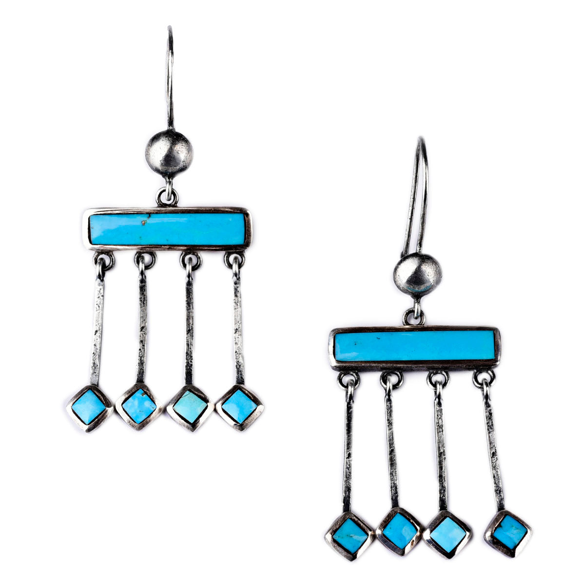 Earrings, Novelty, Sterling Silver & Turquoise, Zuni Rain, 332