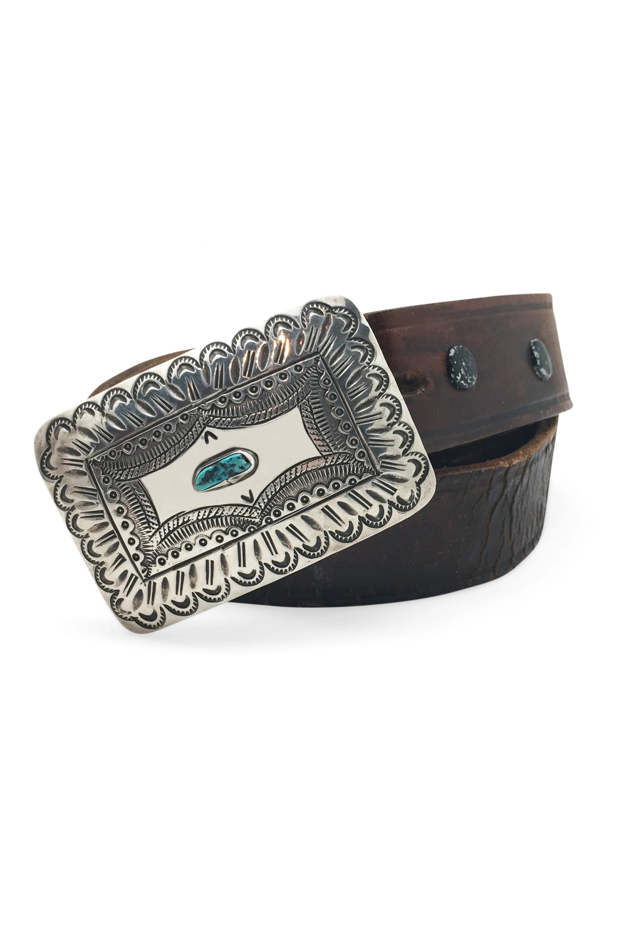 Belt, Concho Buckle, Turquoise & Sterling Silver, Tooled Leather Strap, Hallmark, Vintage, 668