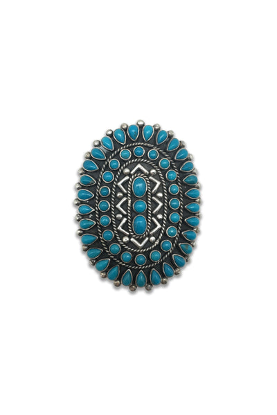 Ring, Turquoise, Cluster, Zuni, Vintage, 417