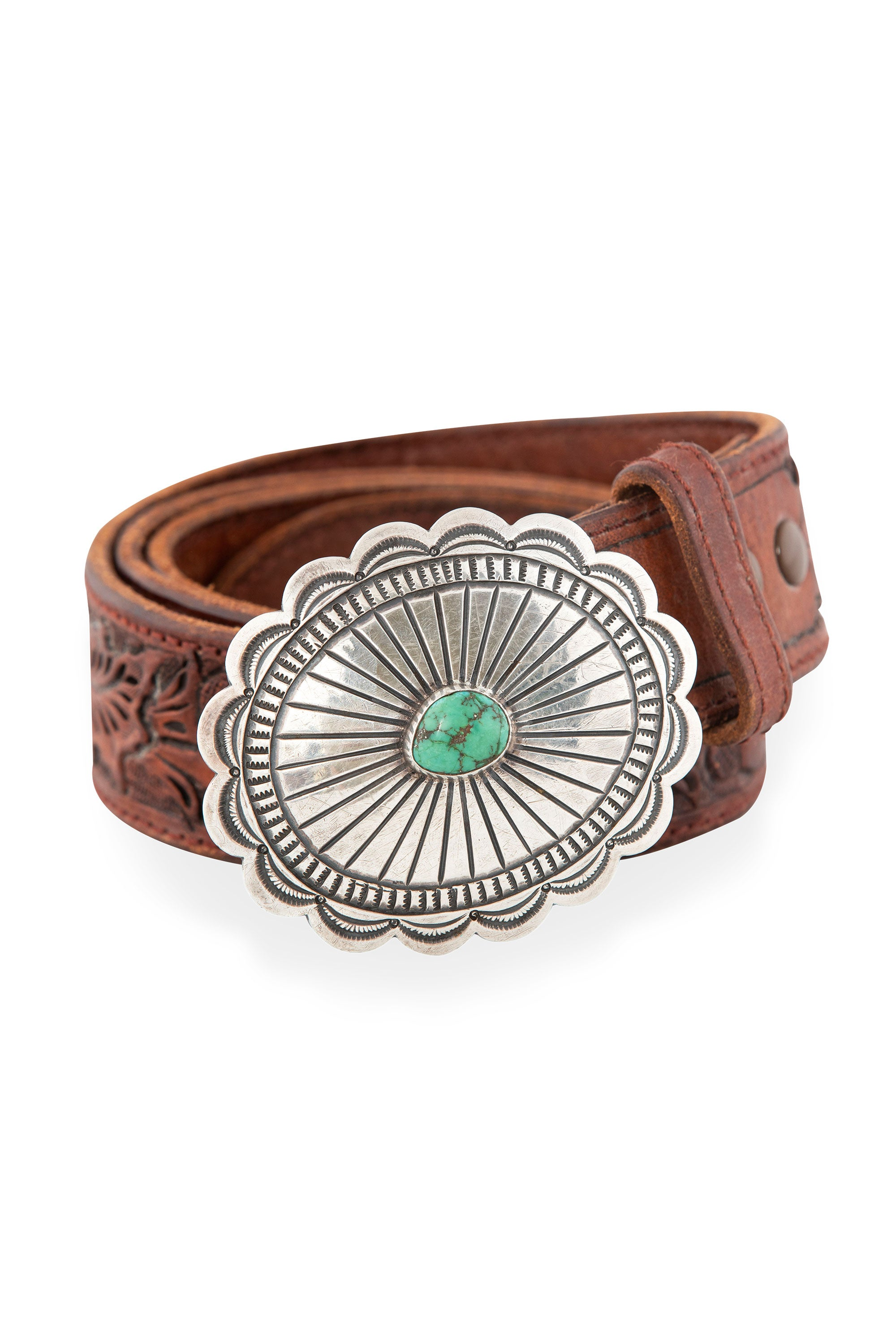 Belt, Concho Buckle, Turquoise, Sterling Silver, Western Tooled Leather Strap, Vintage, 680