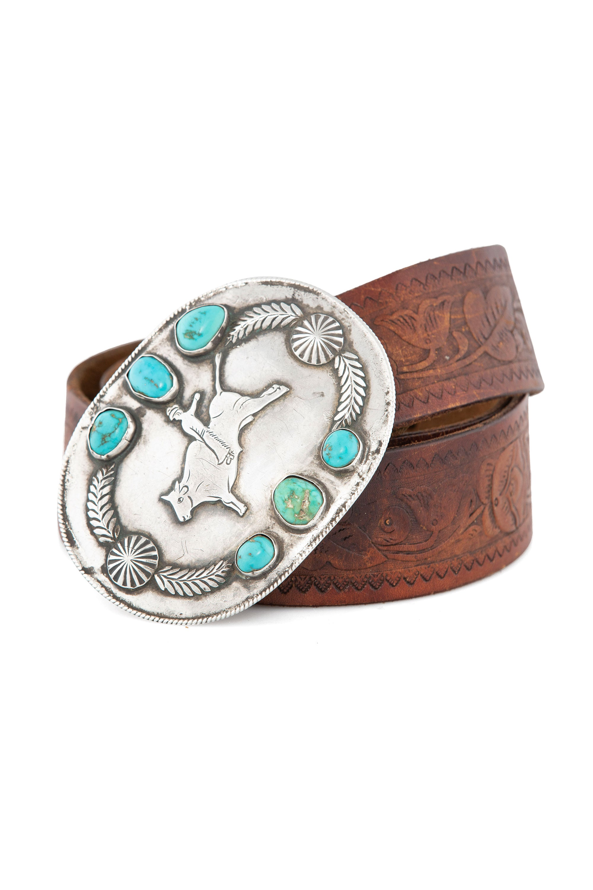 Belt, Buckle, Turquoise, Trophy, Vintage, 683