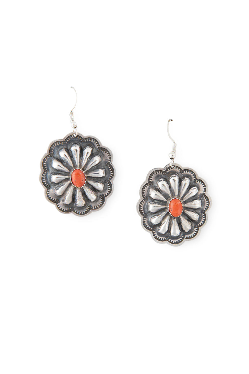 Earrings, Concho, Spiny Coral, Hallmark, 382