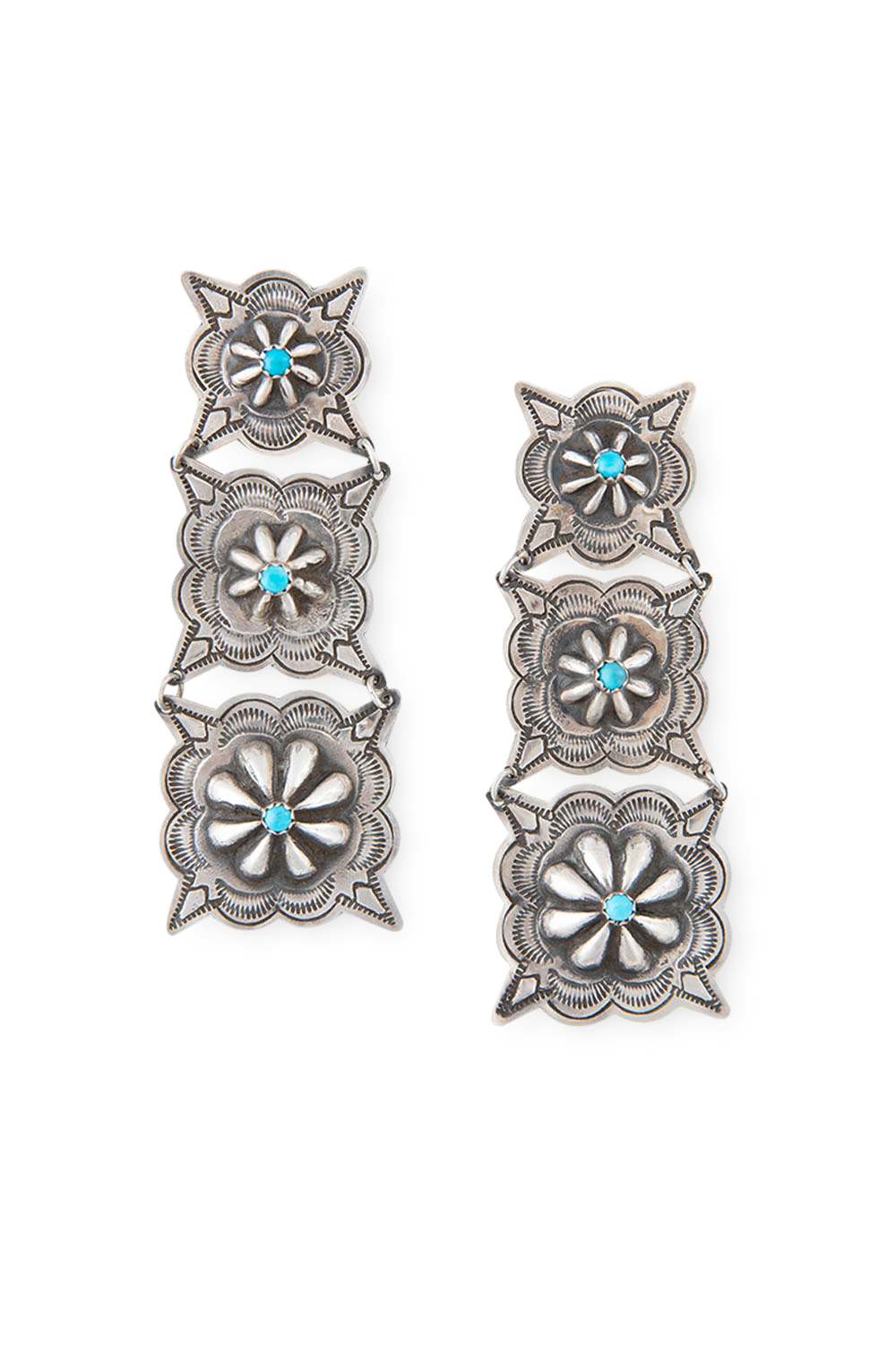 Earrings, Concho, Turquoise, Hallmark, 380