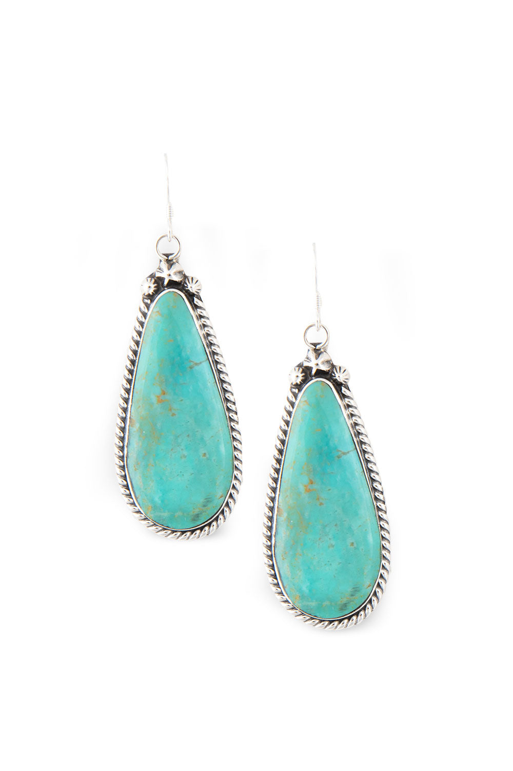 Earrings, Slab, Turquoise, Hallmark, 396D-1