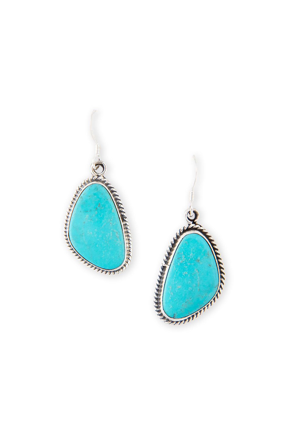 Earrings, Slab, Turquoise, Hallmark, 398