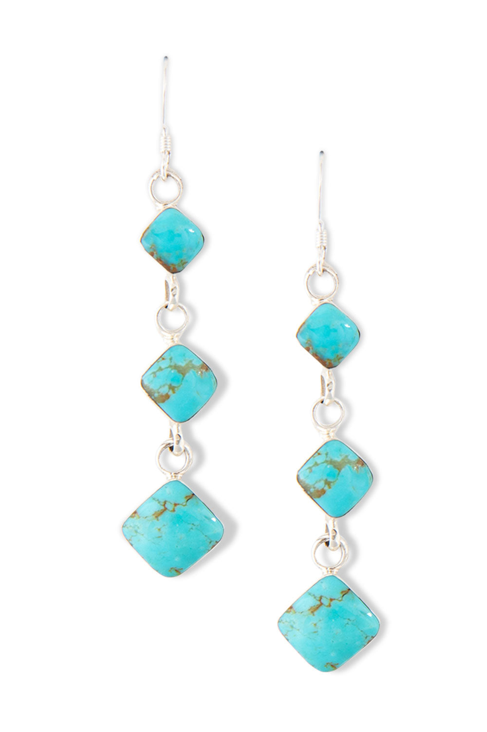 Earrings, Chandelier, Turquoise, 402