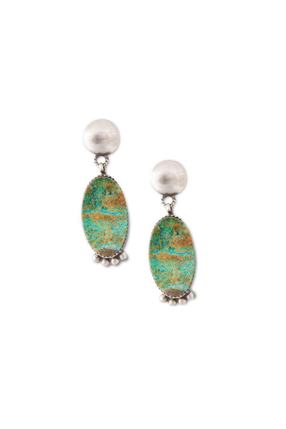 Earrings, Slab, Turquoise, Hallmark, 405