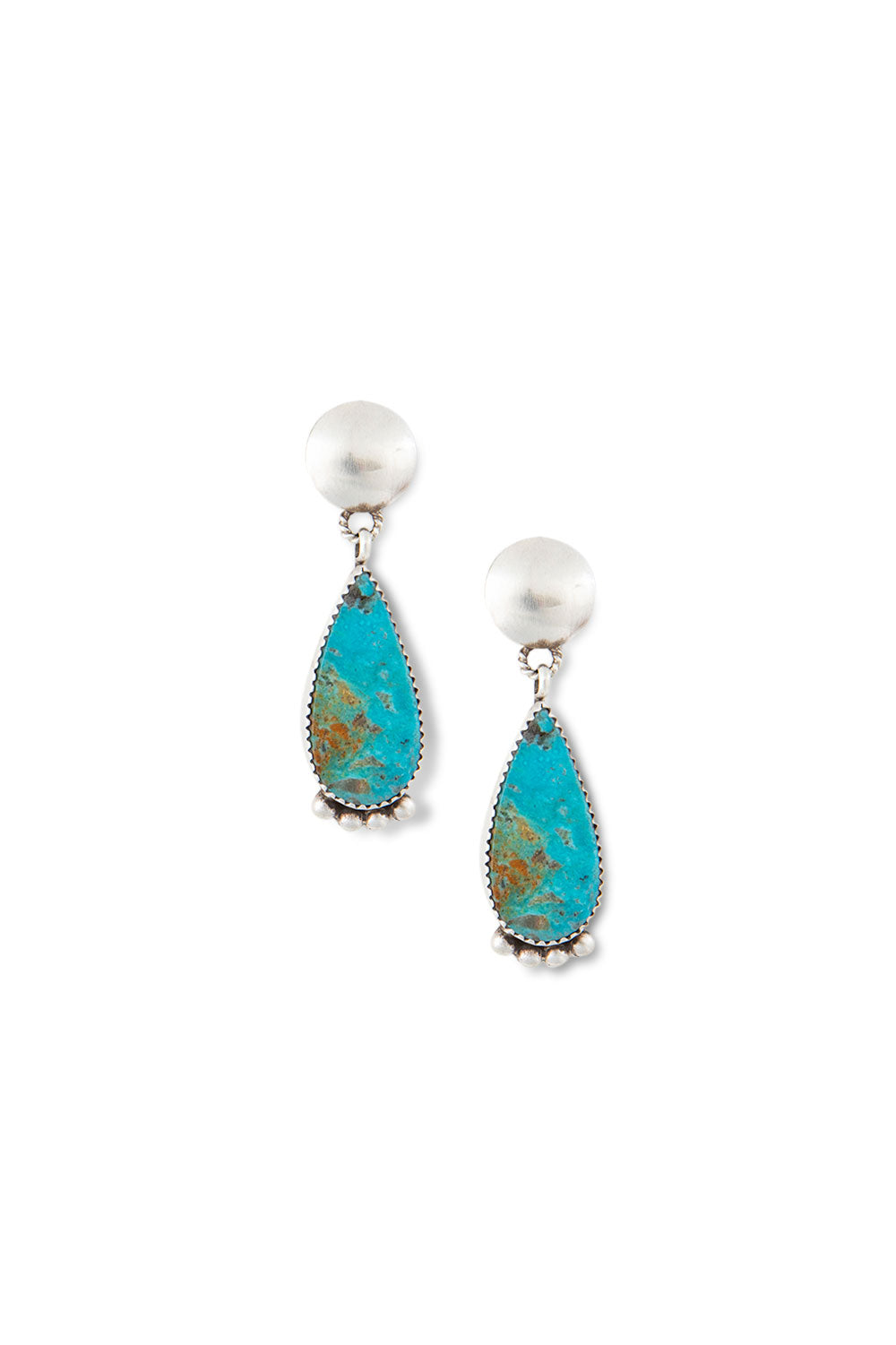 Earrings, Slab, Turquoise, Hallmark, 406