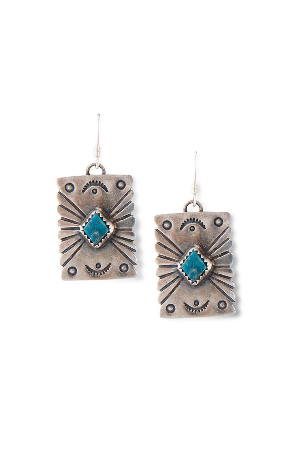 Earrings, Concho, Turquoise, Hallmark, 407