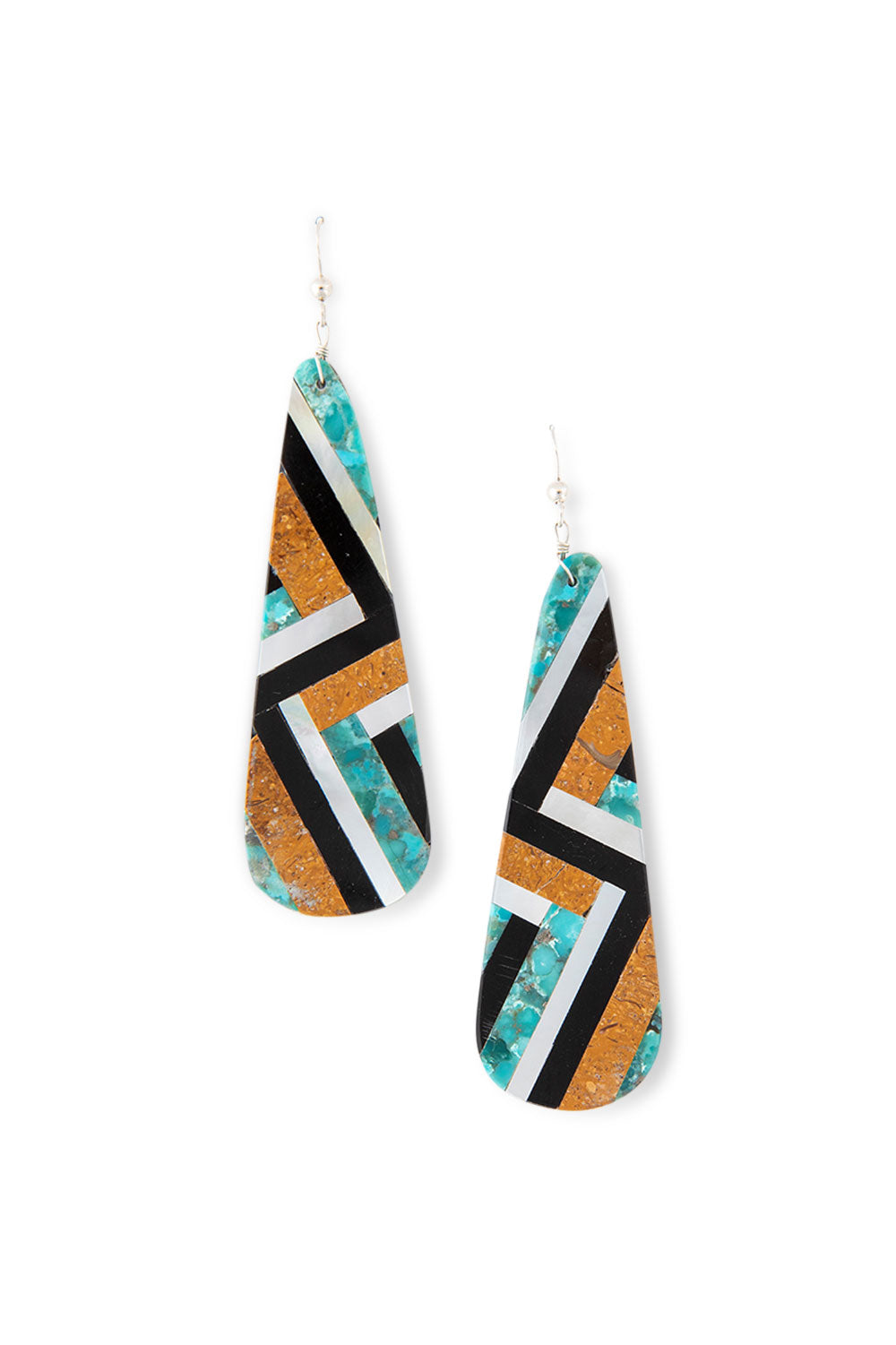 Earrings, Inlay, Multi Stone, Santo Domingo, 413