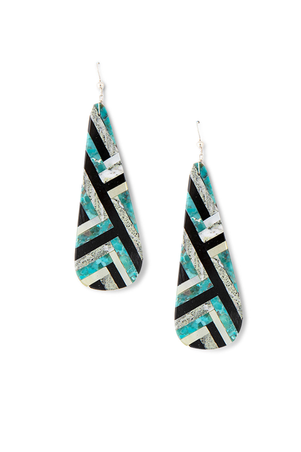 Earrings, Inlay, Multi Stone, Santo Domingo, 416