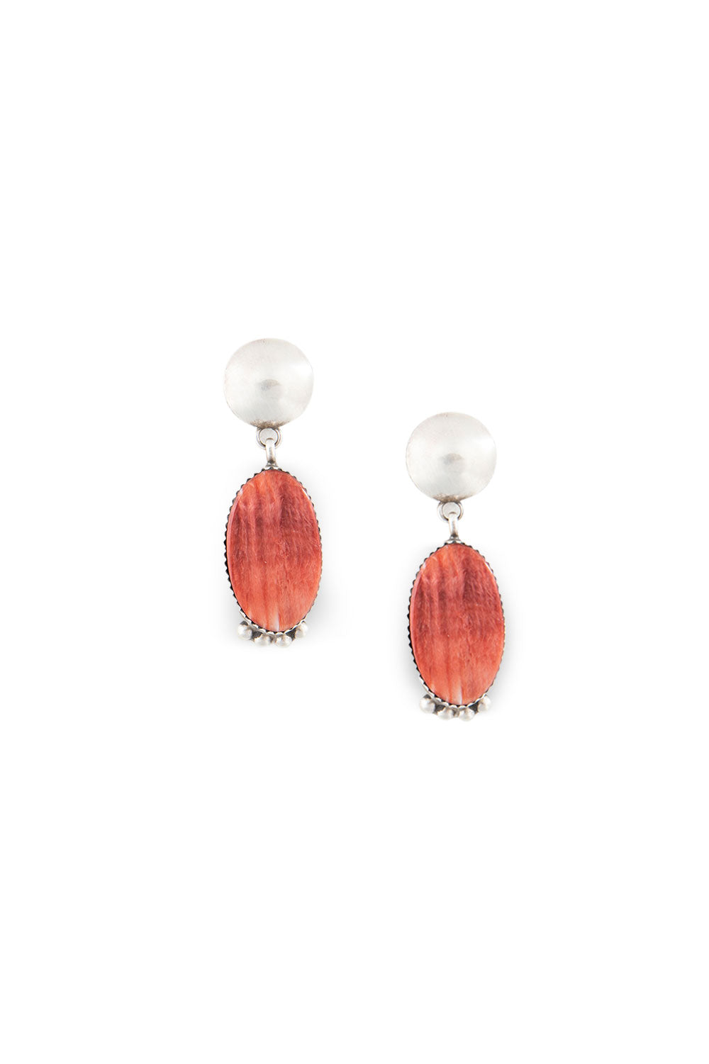 Earrings, Slab, Spiny Coral, Hallmark, 438