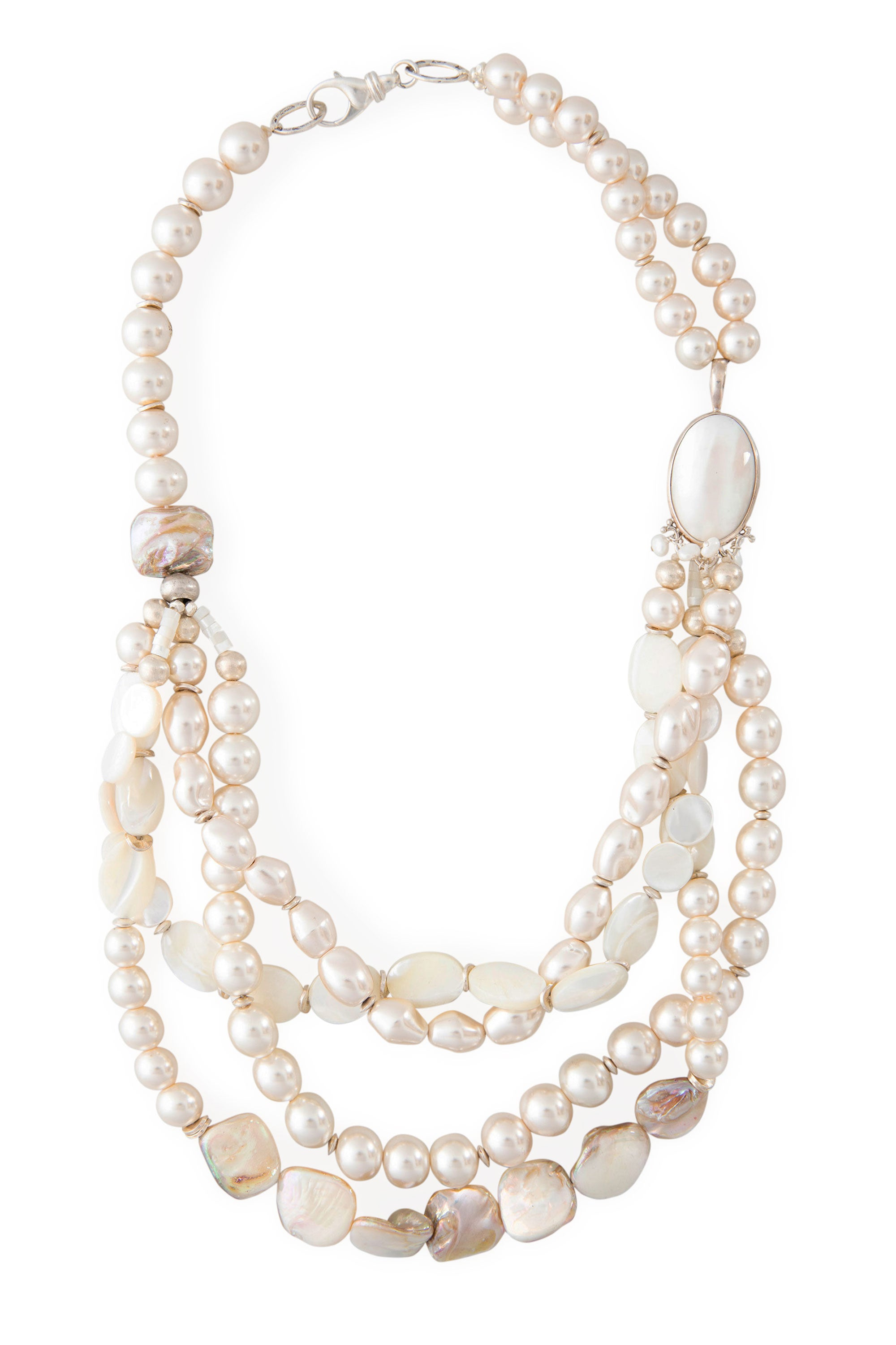 Necklace, Natural Stone,  Fresh Water & Mother of Pearl, 816