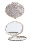 Miscellaneous, Sterling Silver, Compact, Floral Scroll Engraving