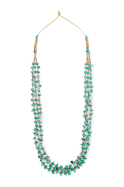 Necklace, Natural Stone, Tab & Heishi, Turquoise, 3 Strand, 906