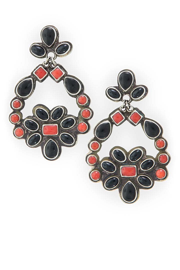 Earrings, Chandelier, Coral & Onyx, Contemporary, 528