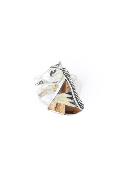 Ring, Inlay, Horse, Marks, Vintage, 608