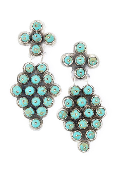 Earrings, Chandelier, Turquoise, Repurposed, Oscar Betz, Hallmark, Vintage, Estate, 566